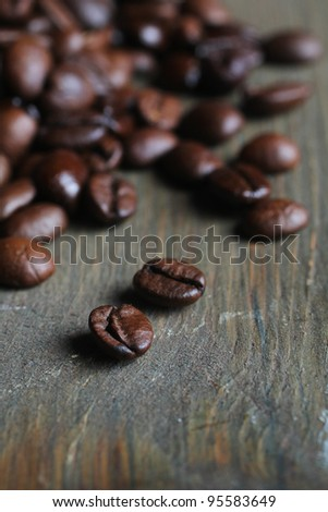 Bunch of coffee beans on a wooden table
