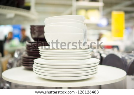 Bunch of color ceramic plates in store