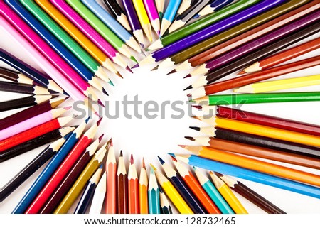 bunch of colored pencils isolated on white background
