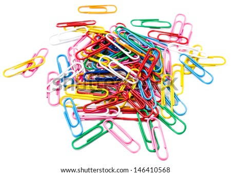 Bunch of colorful paper clips isolated on white background