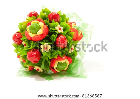 Bunch of colorful sweet flowers isolated on white