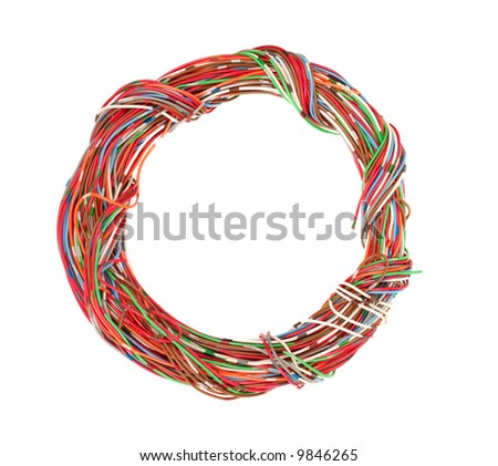 Bunch of colourful wires isolated over white background