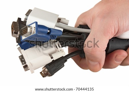 bunch of computer cables with  sockets in hand isolated on a white  background