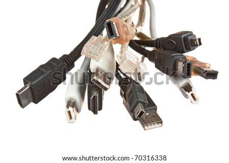 bunch of computer cables with sockets  isolated on a white  background