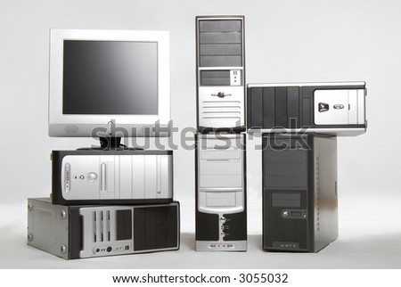 Bunch of computers with liquid-cristal monitor
