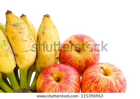 Bunch of cultivated banana and apples  isolated on white background, clipping path included