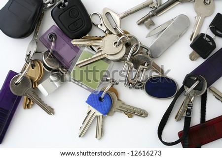 Bunch of different keys on neutral background
