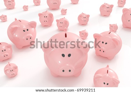 Bunch of different sized piggy banks