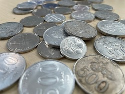 Bunch of dirty old indonesia coins