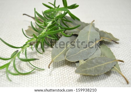 Bunch of dried herbs with bay leaf, thyme, savory and oregano