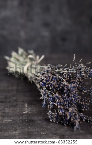 Bunch of dried lavender herb close up
