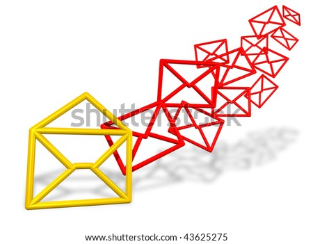 Bunch of email symbols flowing in - stock photo
