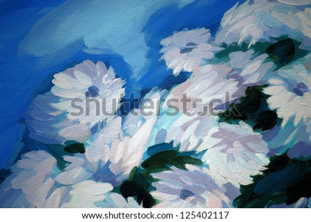 bunch of flowers, painting on a canvas,  illustration