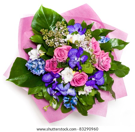 bunch of flowers with roses and lilac in vase