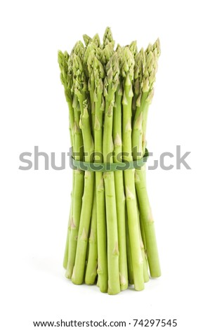 Bunch of fresh asparagus isolated on white background