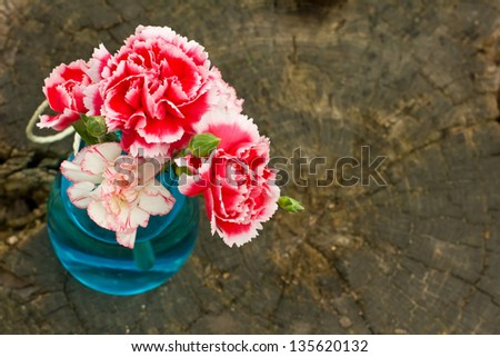 Bunch of fresh carnations in vase on wooden background. Selective focus.