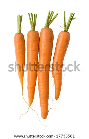 Bunch of fresh carrots isolated on white background. Clipping path included to replace background.