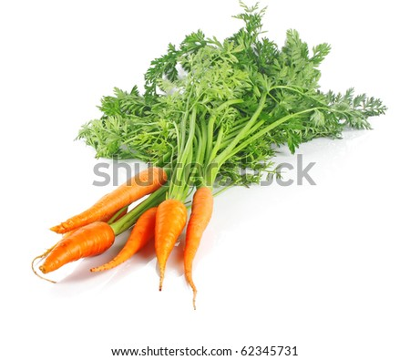 Bunch of fresh carrots on white background, vegetables photo