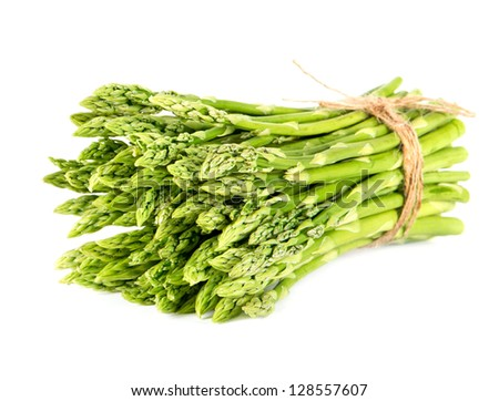 bunch of fresh green asparagus on white background. spring vegetables
