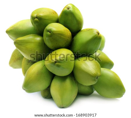 Bunch of fresh green Coconuts over white background