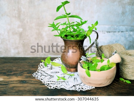 Bunch of fresh mint and mortar, natural herbs