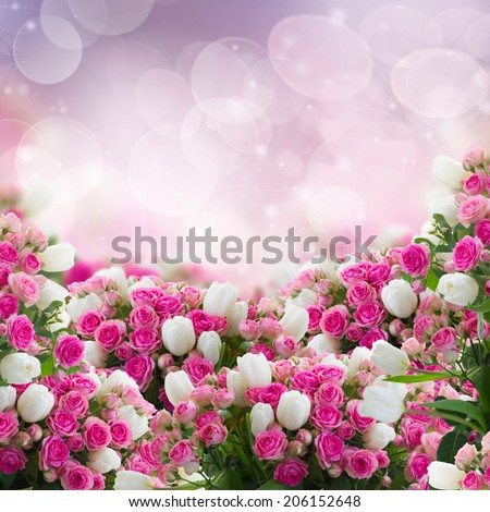 bunch  of fresh pink roses and white tulips flowers  on bokeh  background