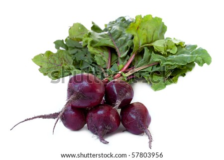 Bunch of Fresh red beets, isolated on white
