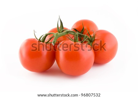 Bunch of fresh tomatoes isolated on white background, vegetables