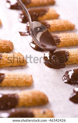 Bunch of freshly baked tasty chocolate cookies.