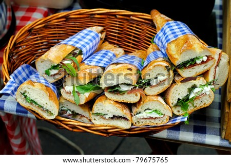 Bunch of freshly made sandwiches with organic ingredients