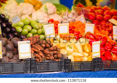 Bunch of fruits and vegetables in city market