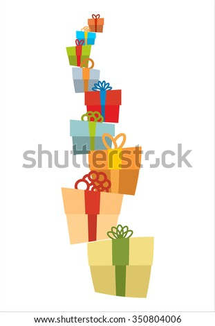 Bunch of gifts. Stack of gift boxes. Tower of gifts with bows. Many holiday boxes.