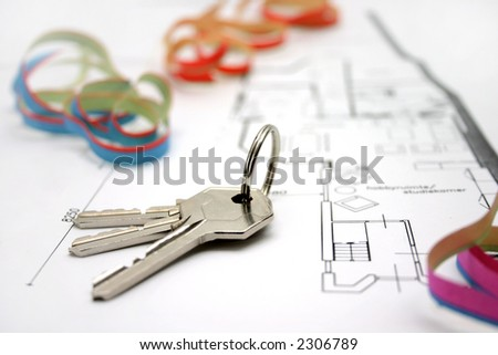 bunch of golden keys on a floor-plan or architecture-plan or house-plan
