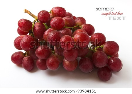 bunch of grapes on a plate isolated on white background