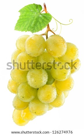 Bunch of grapes on a white background.
