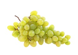 Bunch of grapes with water drops isolated on white background