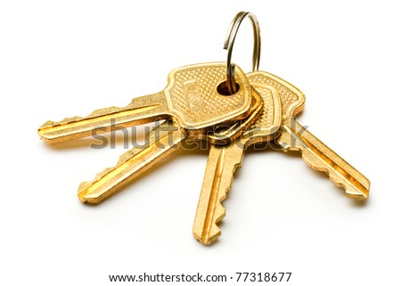 Bunch of keys on the white background