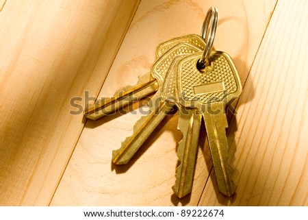Bunch of keys on the wooden background