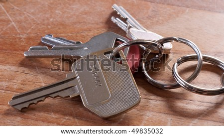Bunch of keys on wooden table
