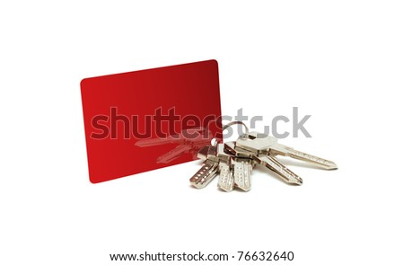 bunch of keys with a tag on a white background
