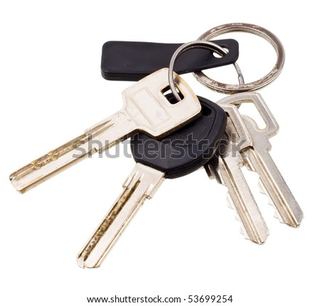 Bunch of keys with electronic key isolated on white background