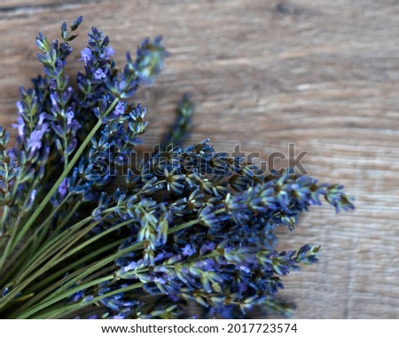 bunch of lavander on wooden background, selective focus. High quality photo Foto stock ©