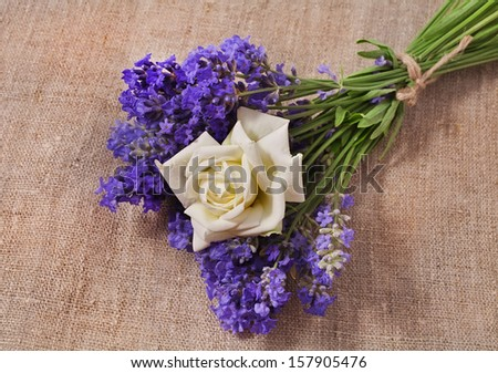 Bunch of lavender and rose flower