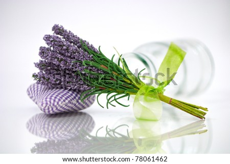 Bunch of lavender flower on an aromatic pillow with a reflection