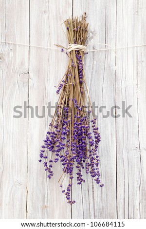 Bunch of Lavender on rustic wood
