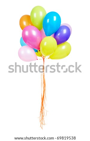 Bunch of multicolored balloons isolated on white