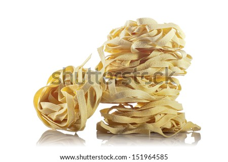 bunch of noodles on white background