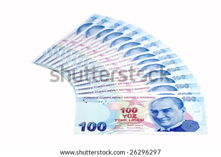 Bunch of one-hundred Lira bills (isolated on white)