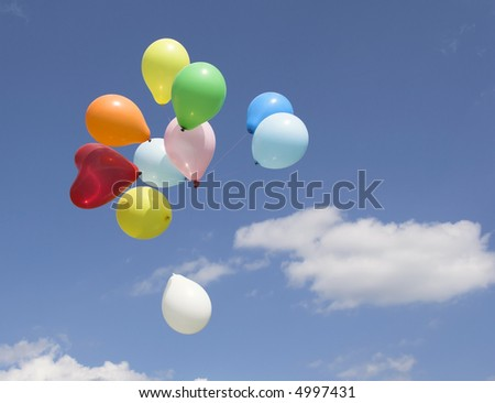 Bunch of party balloons against sky