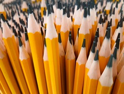Bunch of pencils, general image, close up. Pencils concept and creativity. Hobby, stationery, art school, utensils.